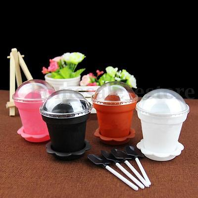 Flower Pot Ice Cream Muffin Mini Cake Cupcake Party Decor Cup Mold w/ Spoon Lid