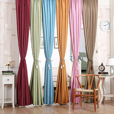 Solid Lined Thermal Thick Blackout Window Curtain Drape Treatment Panels 6 Color