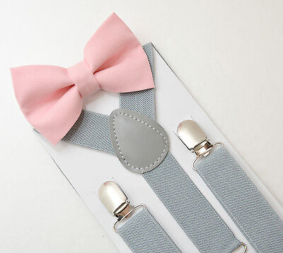 Kids Boys Mens Light Gray Suspenders & Blush Pink Bow tie SET 6mon - ADULT