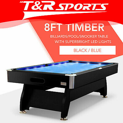 8Ft Blue Timber Mdf Luxury Pool Snooker Billiard Table With Led Free Delivery