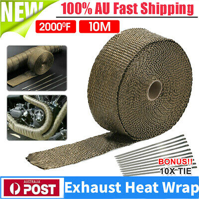 TITANIUM HEAT WRAP 10M X 50mm + 10 TIES EXHAUST INSULATING DOWNPIPE MANIFOLD AU