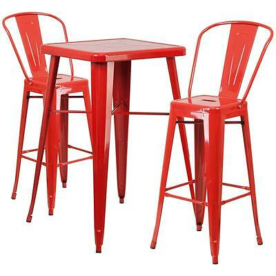 Red Metal Indoor-Outdoor Bar Table Set With 2 Barstools