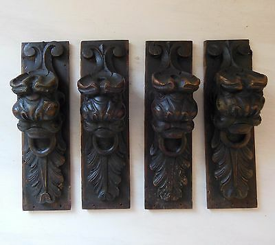ANTIQUE FRENCH CARVED WOOD FURNITURE DECORATION x 4 Lion