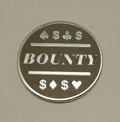 1x Silver Clad Bounty Poker Chip for Bounty Tournaments / Card Protector Coin