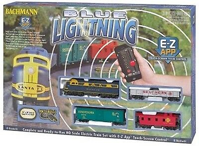 Bachmann HO Scale Train Train Set Bluetooth Equipped Blue Lightning 01501
