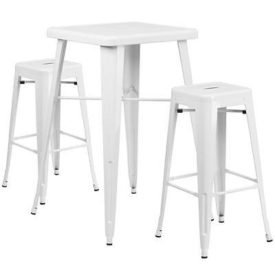 White Metal Indoor-Outdoor Bar Table Set With 2 Backless Barstools