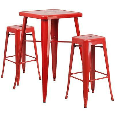Red Metal Indoor-Outdoor Bar Table Set With 2 Backless Barstools