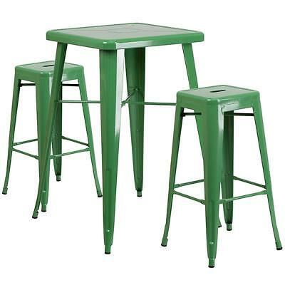 Green Metal Indoor-Outdoor Bar Table Set With 2 Backless Barstools