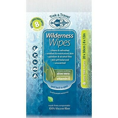 Sea to Summit NEW Wilderness BODY Wipes NOW 30cm x 20cm