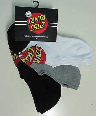 SANTA CRUZ - GIRLS No Show Socks (Assorted) Pack of FIVE - NEW