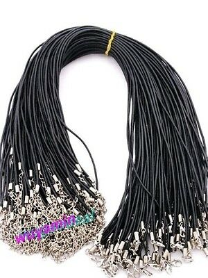 """100Pcs 18"""" 2MM Black Simple  Lobster Clasp Oxhide Real Leather Cord Wholesale"""