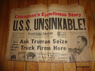 Chicago Herald American Newspaper WWII May 18 1945 U. S. S. Unsinkable