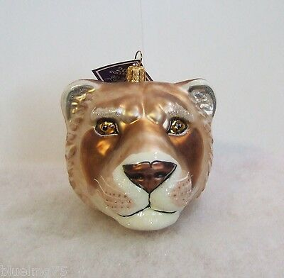 Slavic Treasures Ornament 2008 Lioness Head Hand Blown Glass Poland NIB (S9)