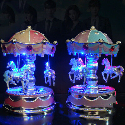 Wind Up Wooden Horse Fairground Roundabout Carousels Musical Box Birthday Gift