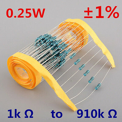 New!!100pcs x 1/4W Watt 0.25W Metal Film Resistor ±1% 1K Ω to 910K Ω Ohm