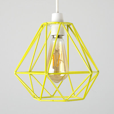Industrial Yellow Metal Wire Diamond Design Ceiling Light Shade Lighting Home