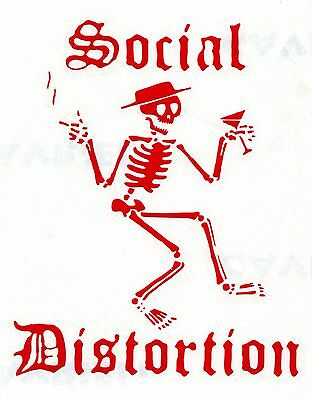 SOCIAL DISTORTION skeleton smoking/drinking RED RUB-ON STICKER **FREE SHIPPING