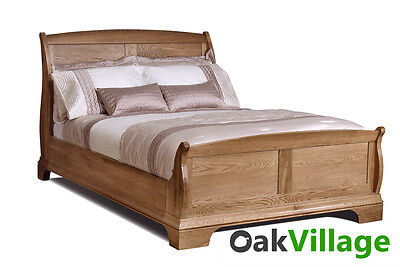 Oak Double Bed / 4ft 6 Oak Sleigh Bed/ Bedroom / Brand New Normandy Farmhouse