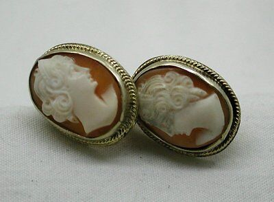Vintage Gold Washed Sterling Silver And Carved Cameo Earrings
