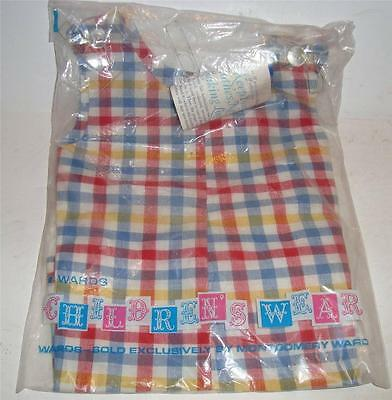 antique vintage 1950s PLAID ROMPER BABY SIZE 3 OR COMPOSITION DOLL TAG NOS