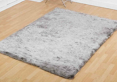 Small-Large Modern Soft Shiny Silky Silver Shimmer Luxury Splendour Shaggy Rugs