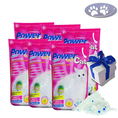 6 x 5 = 30 L Power Cat Magic Silikat Katzenstreu Powercat Streu + Geschenk