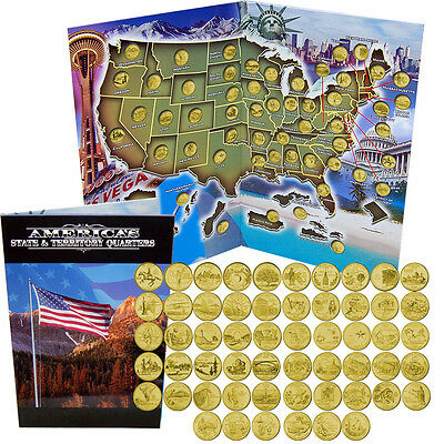 Gold Plated US State Quarters Coin Collection With Folder Map, Uncirculated