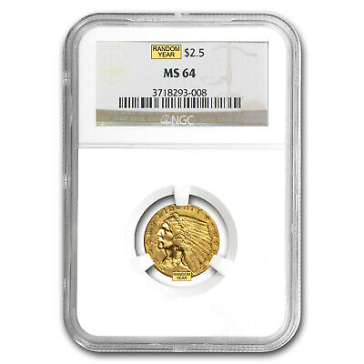 $2.50 Indian Gold Quarter Eagle Coin - MS-64 NGC or PCGS - SKU #22168