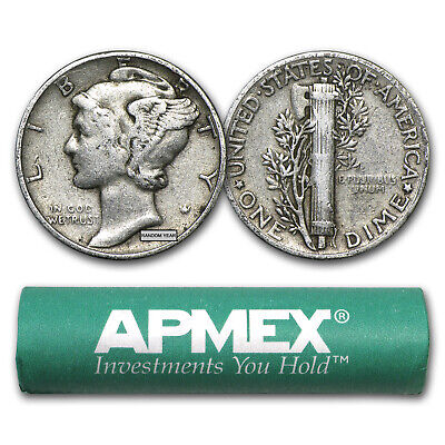 90% Silver Mercury Dime 50-Coin Roll Avg Circ - SKU #5126