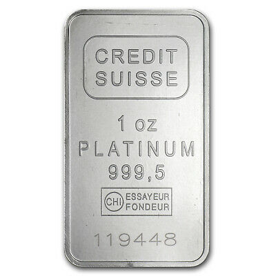 1 oz Platinum Bar - Credit Suisse (.9995 Fine, w/Assay) - SKU #49174