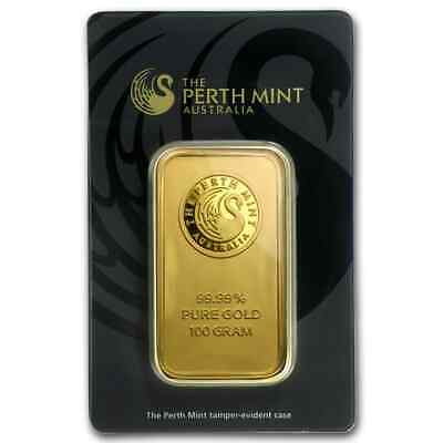 100 gram Perth Mint Gold Bar - In Assay Card - SKU #78889