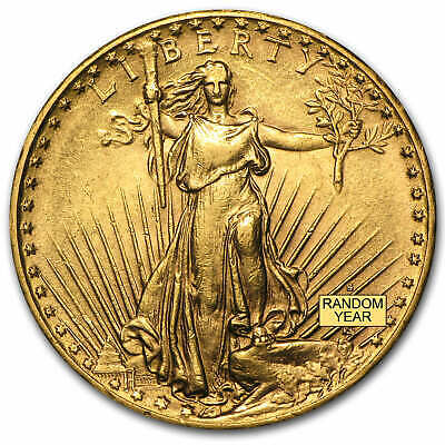 $20 Saint-Gaudens Gold Double Eagle Coin - Random Year - Almost Uncirculated