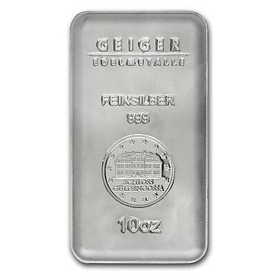 10 oz Silver Bar - Geiger (Security Line Series) - SKU #84106