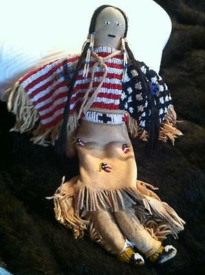 Native American Sioux beaded flag doll with cradle