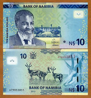 Namibia, 10 dollars, 2015, Pick New, UNC   Redesigned