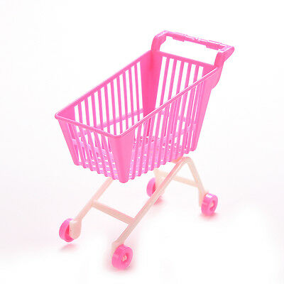 1 X Mini Supermarket Trolleys for Barbie Kids  Doll Toy Accessories Pink A78