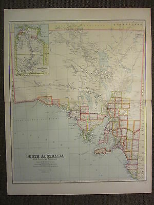 1933 LARGE MAP ~ SOUTH AUSTRALIA with NORTHERN TERRITORY YORKE KANGAROO ISLAND