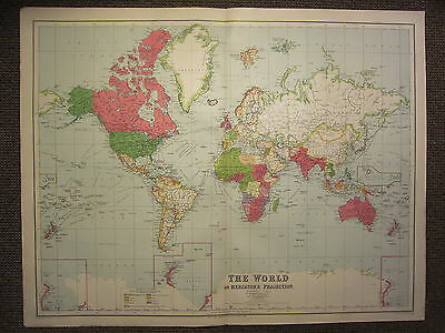 1933 LARGE MAP ~ THE WORLD SHOWING COLONIAL POSSESSIONS BRITISH FRENCH etc