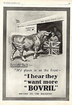 1915 Wwi Print ~ Advert ~ Bovril Soldiers