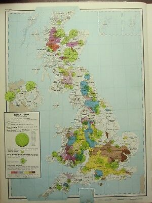 VINTAGE LARGE MAP of BRITAIN RIVER FLOW ANNUAL RIVER DISCHARGES GAUGING STATIONS
