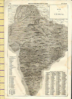 1857 Map ~ India Showing Kindims States Cities Towns & Forts Illustrated London