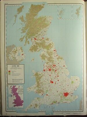VINTAGE LARGE MAP of BRITAIN ~ LAND USE WOODS ROUGH PASTURE FARMLAND CROPS GRASS