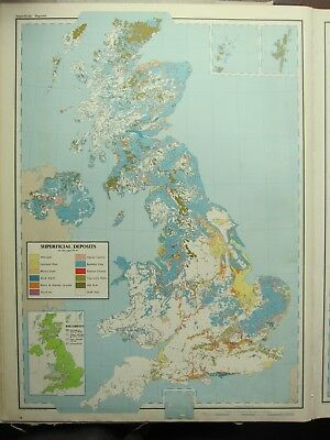 VINTAGE LARGE MAP of BRITAIN GEOLOGICAL SUPERFICIAL DEPOSITS ALLUVIUM GRAVELS