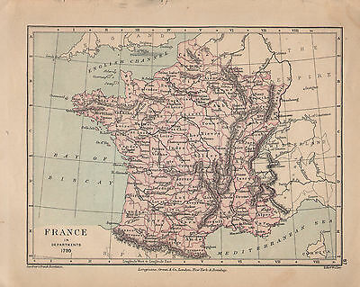1899 Victorian Double Sided Map ~ France In Departments 1790 Austerlitz Jena