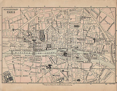 1899 Victorian Double Sided Map Revolutionary Paris City Plan ~ Rhine Quiberon