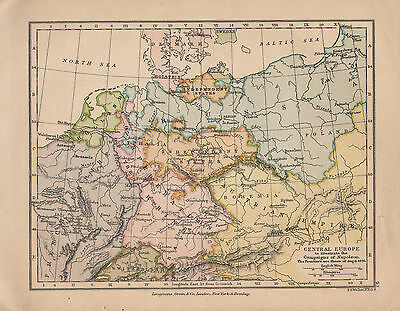 1899 Victorian Double Sided Map ~ Central Europe Napoleon Campaign ~ Wagram
