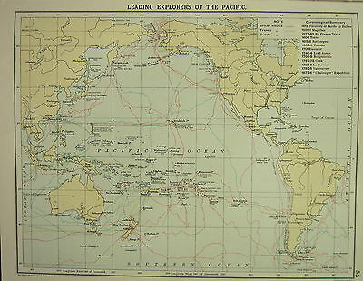 1905 Map Leading Explorers Of The Pacific British French Dutch Routes Discovery