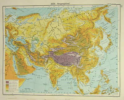 1905 Map ~ Asia Orographical Land Heights India Plateau Of Tibet Siberian Plain