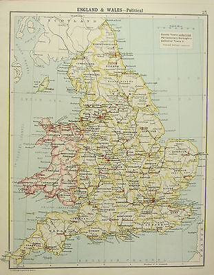 1905 MAP ENGLAND & WALES POLITICAL COUNTY TOWNS PARLIAMENTARY BOROUGHS YORK etc