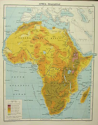1905 Map ~ Africa Orofraphical Land Heights Central Plateau Sahara Desert
